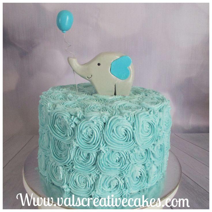 Cute elephant baby shower cake