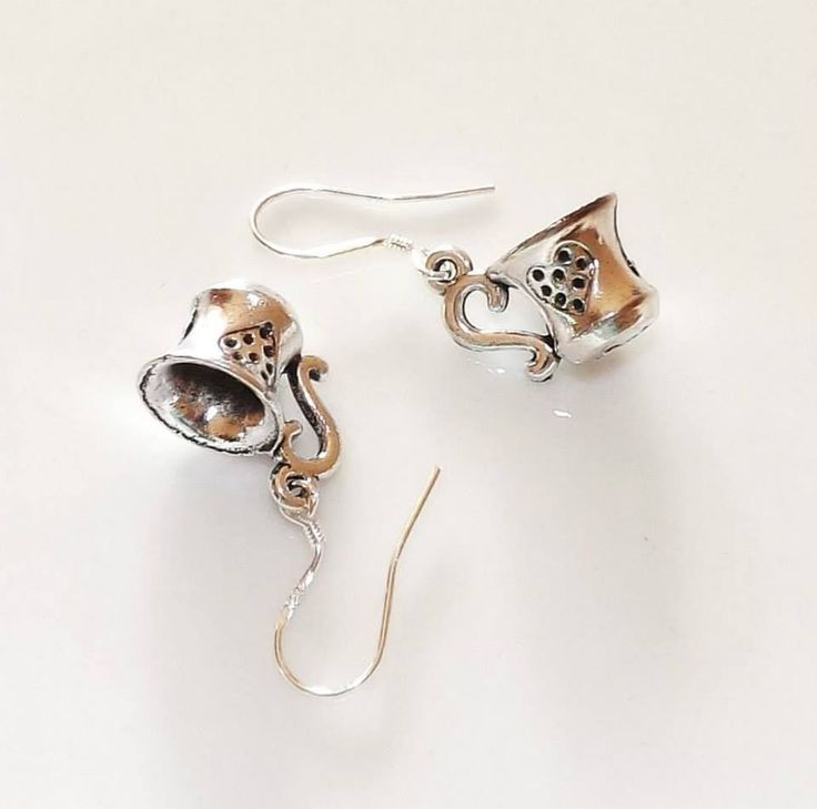 Alice in Wonderland Cute Tea Cup Silver Earrings 925 silver hook