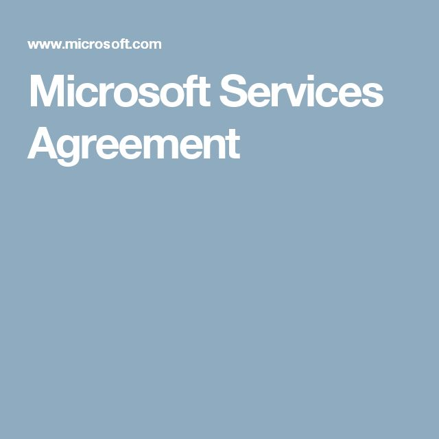 Microsoft Services Agreement