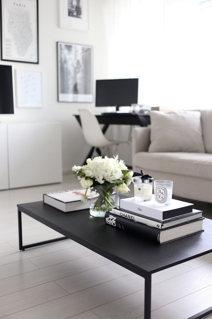 White coffee table in living room - 29 Tips For A Perfect Coffee Table Styling