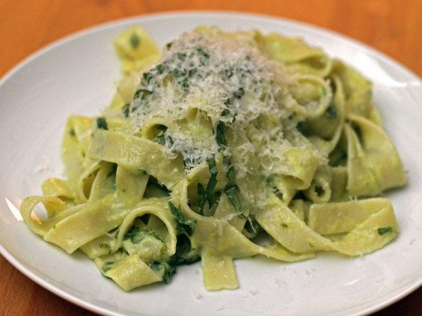 Tagliatelle with Basil and Egg Yolk via seriouseats.com