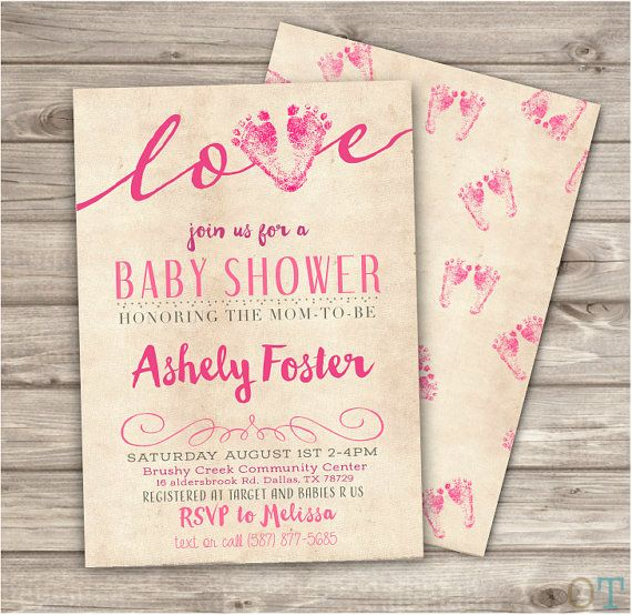 ★★★ Printable Digital File ★★★  ♥ Baby Foot Print Shower Invitations with Back included   ★ DESCRIPTION ► 24 - 48hrs turn around time ► Size 5X7, or custom sizes accepted ► JPEG {Single card} or PDF {Two cards per page} ► High Resolution 300 dpi File  ♥ Please Use Info Form Below and send it to me via Message or at Checkout. ____________________________________________________________________________________  INFO FORM:  NAME: DATE: TIME: LOCATION ADDRESS RSVP INFO: REGISTRY INFO:  Notes for…