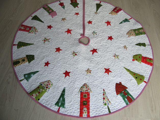 Baumschmuck: Stoff - Quilt-Weihnachtsbaumdecke - ein Designerstück von Aksiny…