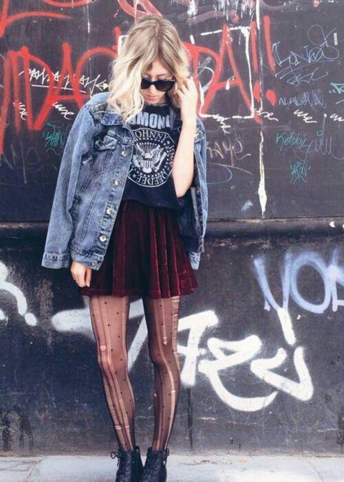 grunge alternative fashion style ripped tights black boots shades denim velvet skirt
