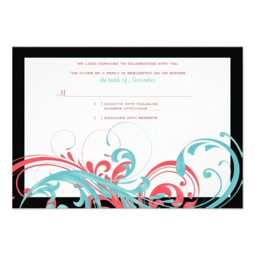 Coral and Aqua Floral Wedding Reply Card Custom Announcement