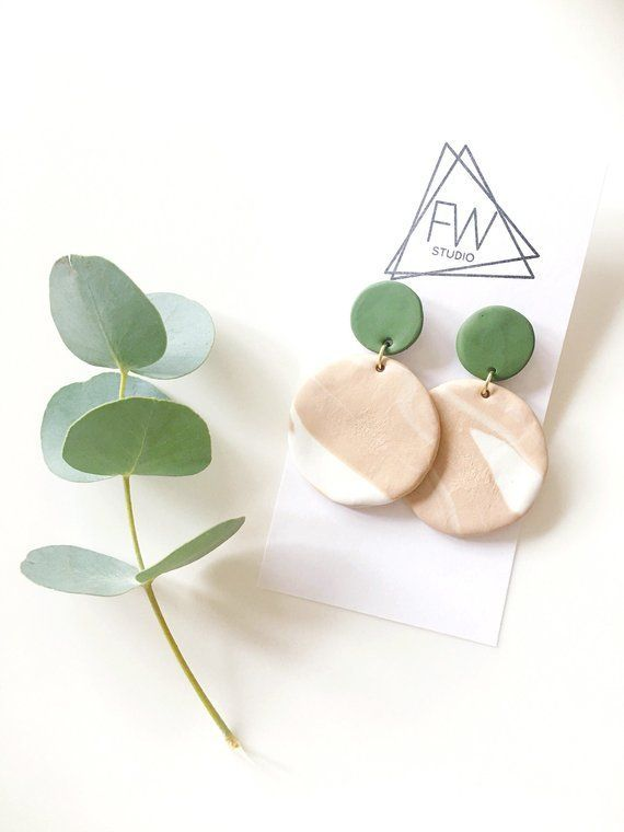 Green and tan marbled polymer clay studs