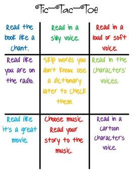 Fluency Tic-Tac-Toe Freebie! This would a fun way to practice fluency. Play tic tac toe and act out what it says with a story they have.