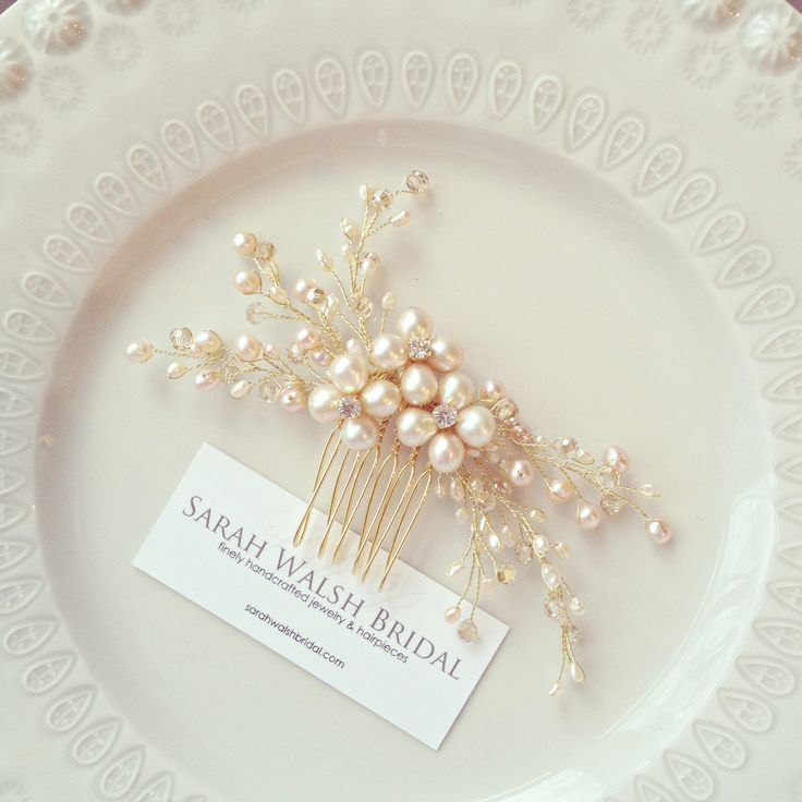 Blush Hairpiece Bridal Hairpiece Pearl Bridal by SarahWalshBridal