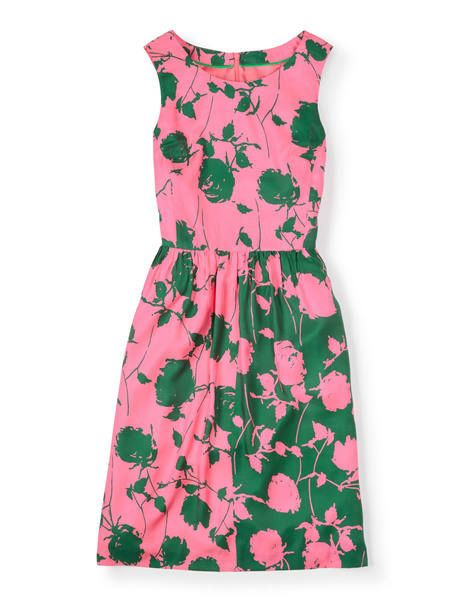 Pink and green floral print dress