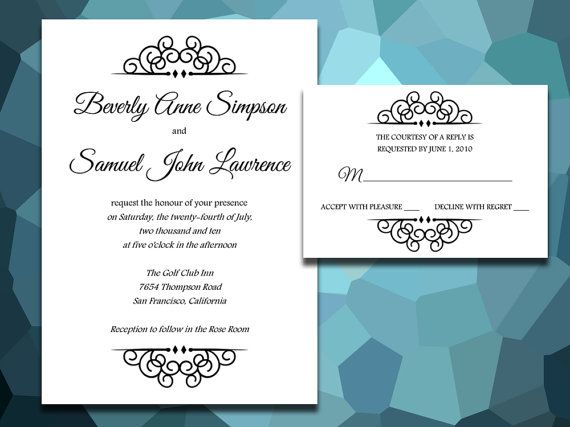 SPECIAL PACKAGE DISCOUNT Wedding Invite \ Rsvp Suite - Crowned - microsoft word templates invitations