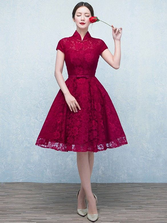 Wine Red A-Line Lace Qipao / Cheongsam Wedding Dress