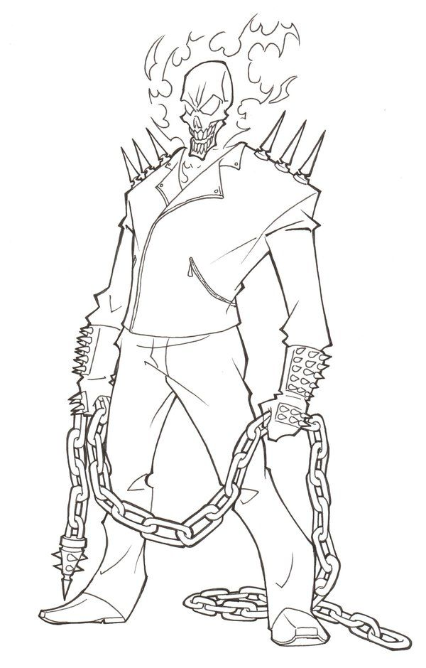 Ghost Rider Coloring Page Coloring Pinterest