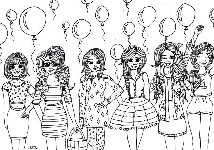 Girls with balloons. Coloring page. Free printable. Kleurplaat. Meisjes met ballonnen