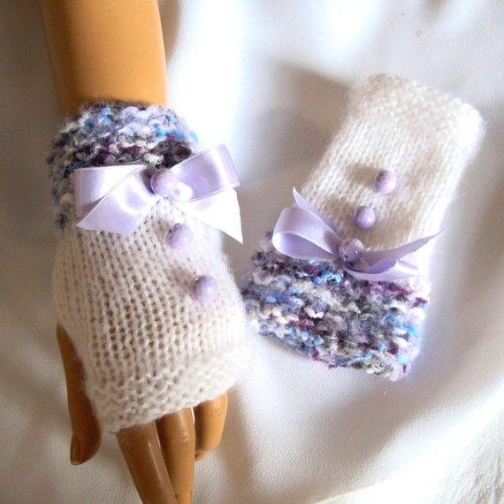 Hand Knit Gloves White Gray Blue Lavender Fingerless ♥ by Pasin, $32.00
