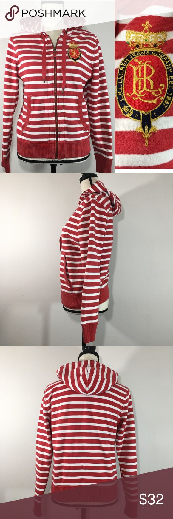"""Ralph Lauren Nautical Striped Hood Crest Full Zip Ralph Lauren Jeans Company Women's Red & White Nautical Striped Hoodie Crest Logo Full Zip - Size Small  Lauren Jeans Company Women's Hoodie  * Embroidered L.R.L. Crest on Front * Ribbed Hem and Cuffs * Full-Zip Front * Underarm Patch with Ventilating Grommets * Front Pockets meet at the Zipper * Hood with Drawstring * Size S: Chest-38"""", Length: 22"""", Sleeve: 23"""" * Brand: RALPH LAUREN JEANS COMPANY * 100% Cotton. * Pre-owned with…"""