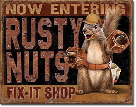 "Rusty Nails Fix It Shop Sign Everyone has that one friend that fix it all but they just use old parts to het things going again proudly display these vintage sign reproductions. Measures-16""""W x 12.5"""