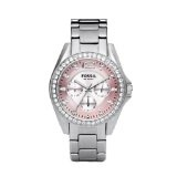 Fossil Women's ES2251 Stainless Steel Bracelet Pink Mother-Of-Pearl Glitz Analog Dial Multifunction Watch (Watch)By Fossil