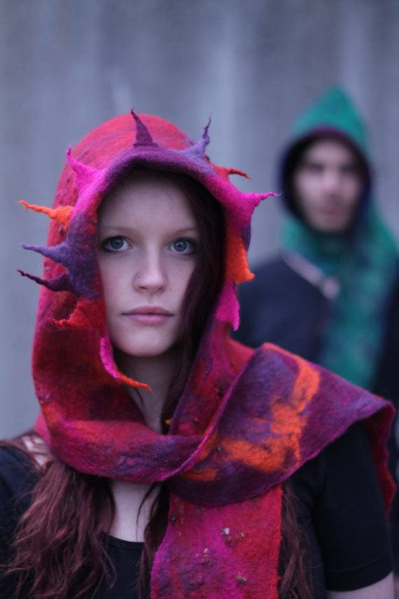 Hoody Scarf/ hand felted pure merino wool/ beautifully warm/ OOAK/ Fire Dragon/ flame coloured tangerine ochre plum fushia pink and claret