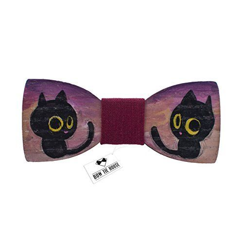 Tiny cat painted bow tie wood bow tie - red color, black