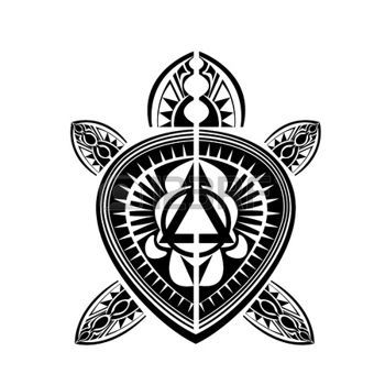 Maori Style tartaruga tatuaggio polinesiano photo