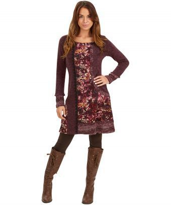 "Warm up this winter in this rich textured loose-fitting dress. We love the complementing colours and pretty lace detailing, perfect for autumn days. Approx Length: 92cm Our model is: 5'7""  Watch the video to see this dress in action!"