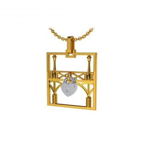 Square gold pendant Tournaire Lock and Love Tournaire love lock bridge & lovers' padlock