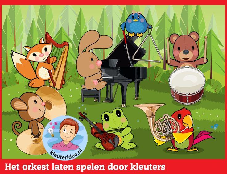 Het orkest laten spelen door kleuters  op digibord of computer  op kleuteridee