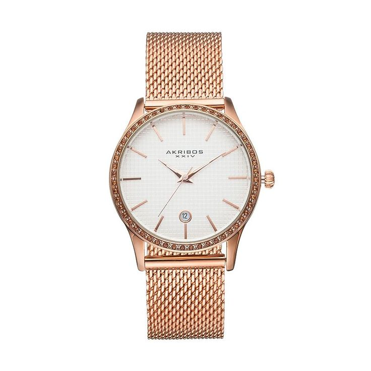 Akribos Xxiv Women's Glimmer Crystal Stainless Steel Mesh Watch, Pink