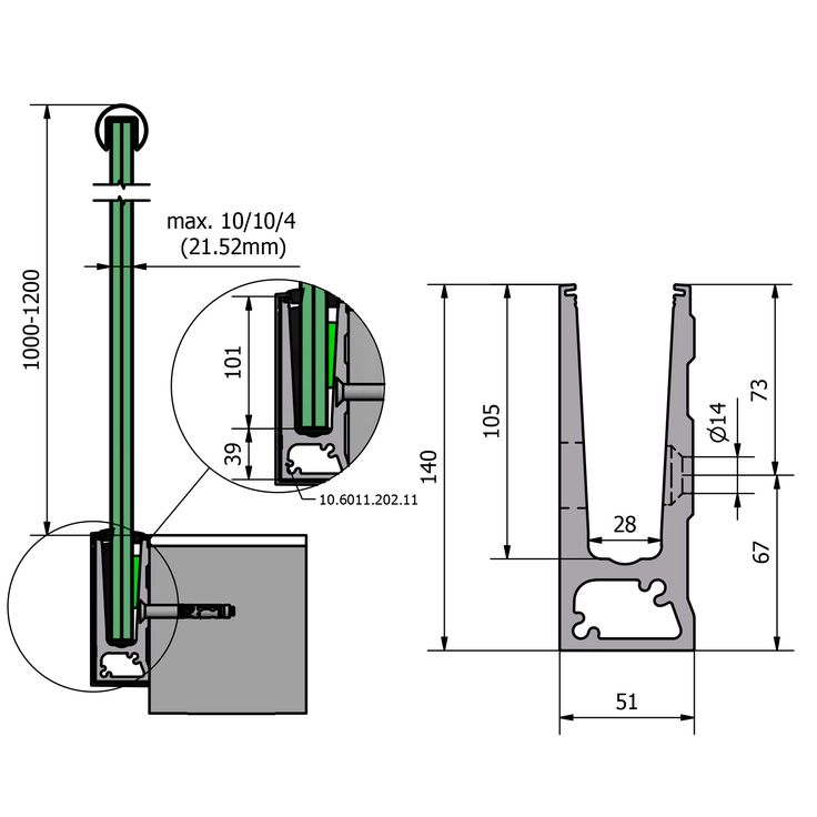 Kitchen Connection Posts: Side Mounted Glazing Channel (U Shaped Profile)