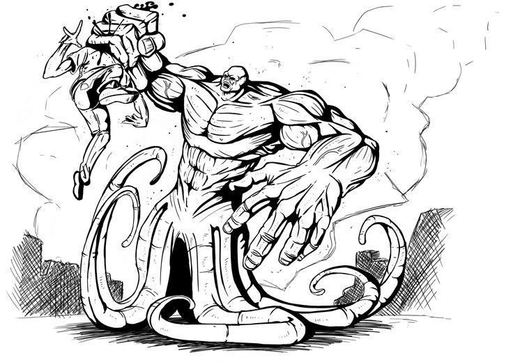 Another blackand white illustration for the boardgame, Infernal.