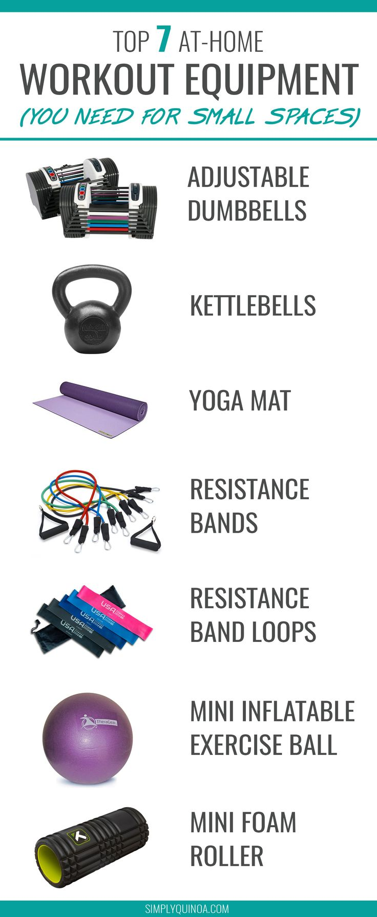 TOP 7 AT-HOME EXERCISE EQUIPMENT FOR SMALL SPACES!! Want to work out at home but feeling cramped? Check out the MUST HAVE exercise equipment when you have no space to workout!