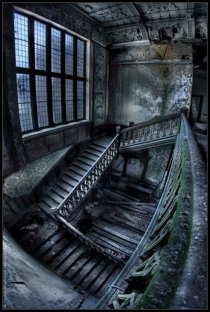 Abandoned Mansion love the way this looks - it's almost like an Escher staircase!: