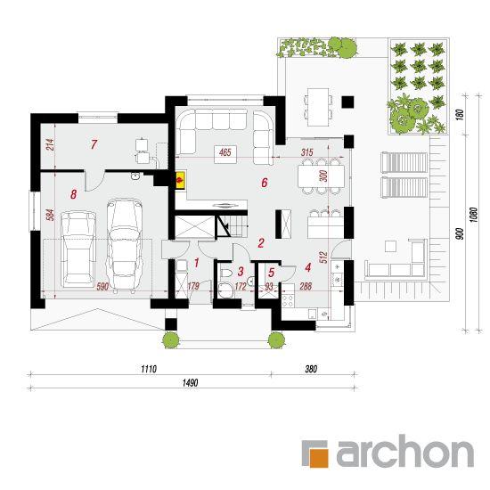 projekt Dom w orliczkach (G2) rzut parteru