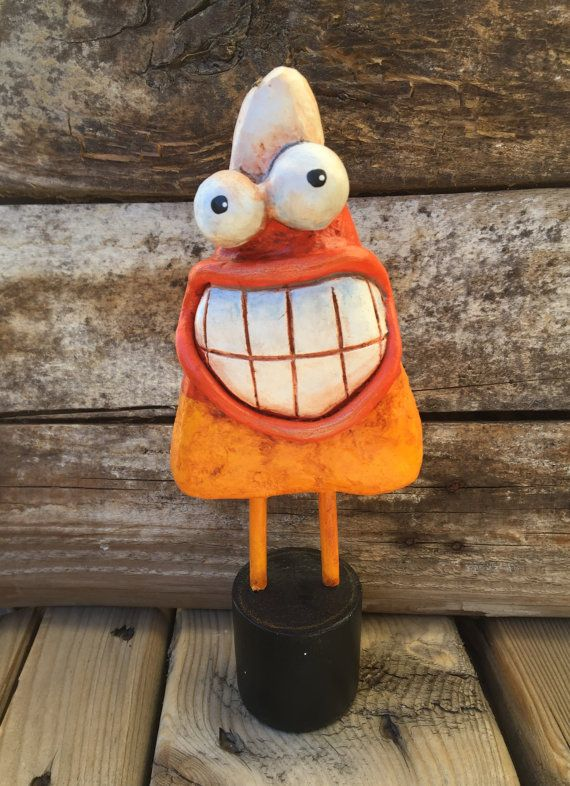 Art Sculpture Halloween Candy Corn  Paper Mache  by Fishstikks
