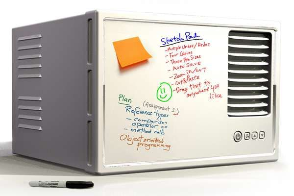 Doodled Room Coolers - The Functional Window AC Doubles as a Handy Whiteboard (GALLERY)