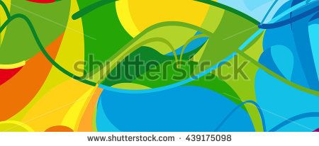 Rio. 2016 Brazil Games abstract colorful pattern. Summer color of athletic games 2016 - Green, orange, yellow, blue. Color shapes and lines. Summer Brazilian Sport background. For design advertising. - stock vector