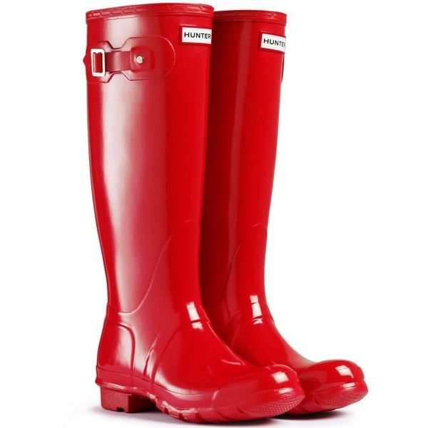 Womens Hunter Original Tall Gloss Rain Boots Winter Festival... (435 BRL) ❤ liked on Polyvore featuring shoes, boots, bottes, wellington boots, wellies boots, tall knee high boots, tall rain boots and rain boots