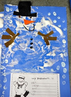 make snowmen...describe with adjectives And a great idea for place value using marshmallows!
