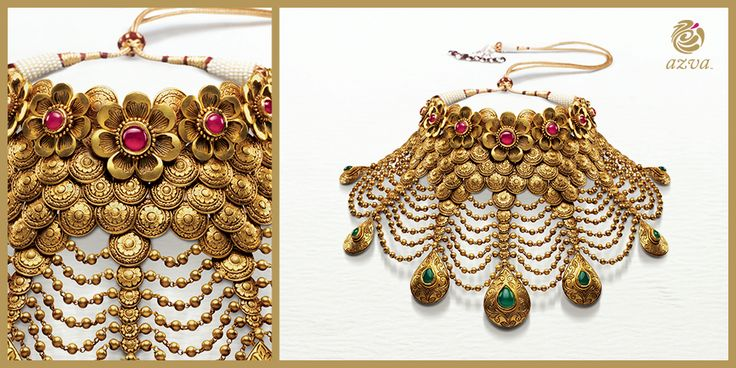 7 green drops converge at the top to form a 22k gold bridal choker embedded with red stones to signify the fiery passion of love.
