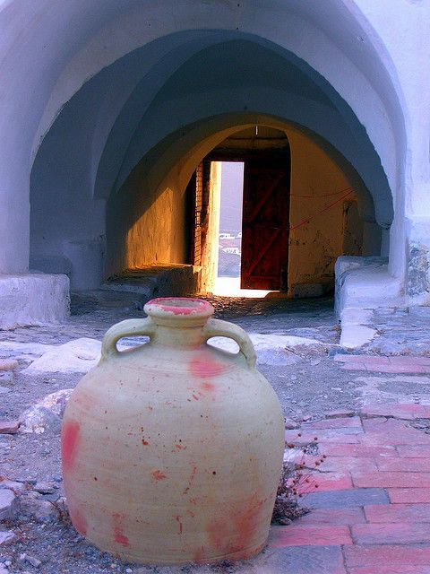 Clay pot and entrance, Kastro, Astypalea island by Marite2007, via Flickr