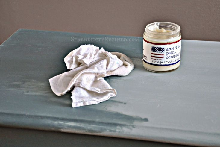 "PAINTER'S TIP: Waxing between colors allows you to build multiple color layers and sand through only one layer at a time to create a ""well-loved, time-washed"" appearance; even on new pieces. Waxing between coats will also allow for distressing with a damp cloth or sponge for a smoother finish without sanding. I also like to layer the wax. After one or two coats, I lightly sand some areas to make the paint color appear old and uneven as it would be if it was aged."