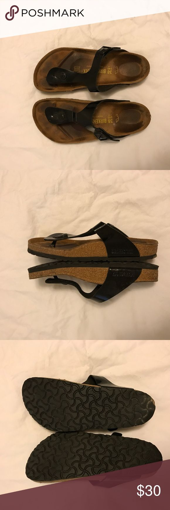 Birkenstock Gizeh Sandals - patent black sz 38 Lightly worn. No chips in the cork. Still lots of wear left! Birkenstock Shoes Sandals