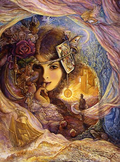 """Serendipity  by Josephine Wall #art #Wall #fantasy  Described in the dictionary as """"the facility of making fortunate discoveries by accident"""" - """"Serendipity"""", is a word that has many meanings.  It can mean the strange and wonderful way events, people and places collide or connect in life in a way that you feel is """"meant to be""""..!!  There are many paths to follow and many doors to open (if you choose) which lead to different directions in life.  It is just a game of chance - the mere roll of…"""