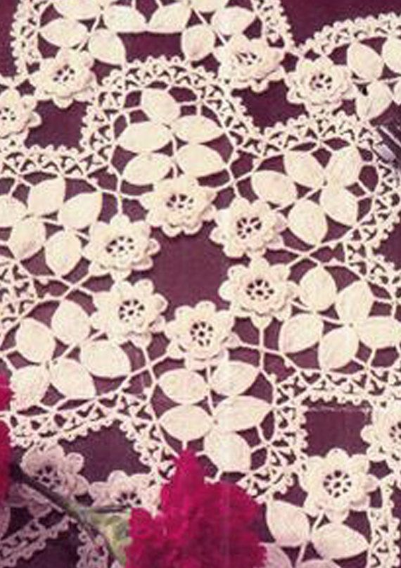Vintage Irish Crochet Pattern Doily 3d Rose & by TheAtticofKitsch