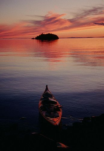 Sunset at Isle Royale National Park. Round Island  in Herring Bay :)