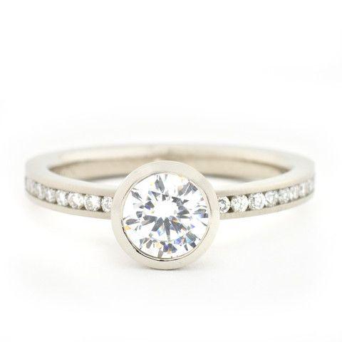 Contemporary Bezel Engagement Ring | Diamond Rings | Gold, White Gold & Platinum Engagement Rings | Custom Designed Bridal Rings Style: R529...