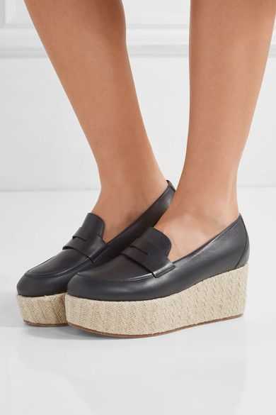 Gabriela Hearst - Brucco Leather Platform Loafers - Navy - IT37.5