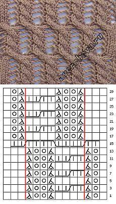 узор 744 | каталог вязаных спицами узоров