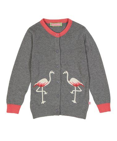 d2045fe0e Look at this  zulilyfind! Gray   Coral Flamingo Cardigan - Infant ...