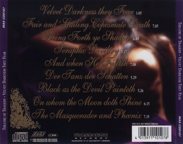 Caratula Trasera de Theatre Of Tragedy - Velvet Darkness They Fear